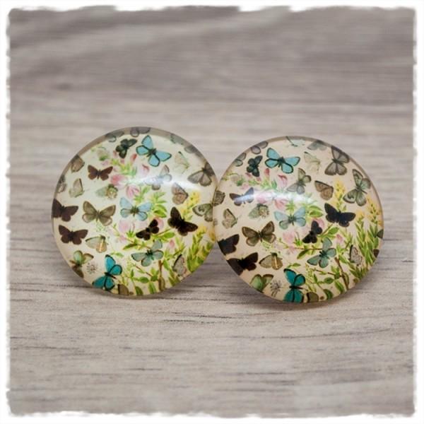 1 Paar Ohrstecker in 25 mm mit Schmetterlingen auf braunem Hintergrund (wahlweise als Ohrclips)