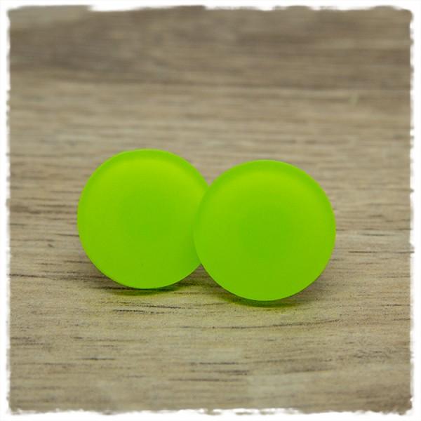 1 Paar Ohrstecker in 20 mm matt grün