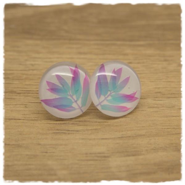 1 Paar Ohrstecker mit Blättern in hellblau und pink