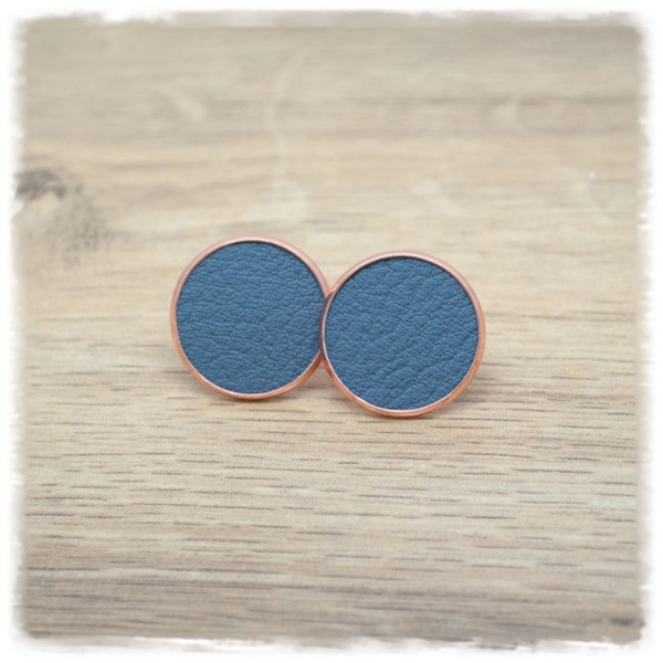 1 Paar Lederohrstecker blaugrau mit rose Fassung
