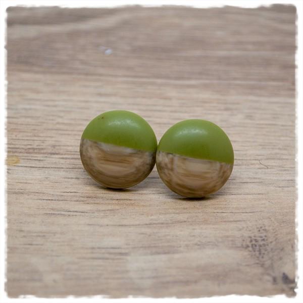 1 Paar Ohrstecker 18 mm grün matt mit Holzdekor