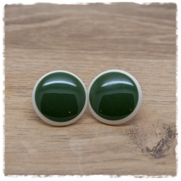1 Paar Ohrstecker in 25 mm grün mit weißem Rand