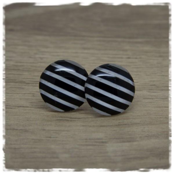 1 Paar Ohrstecker schwarz weiß gestreift