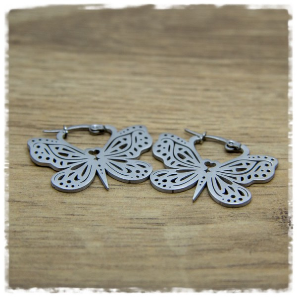 1 Paar Ohrhänger in 30 mm Schmetterling silbern