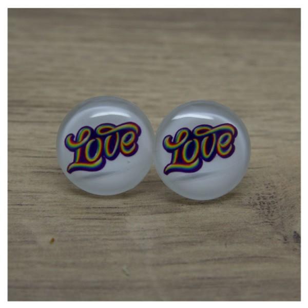 1 Paar Ohrstecker in 20 mm mit love in bunt