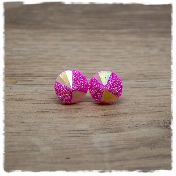 1 Paar Glitzerohrstecker in 12 mm pink