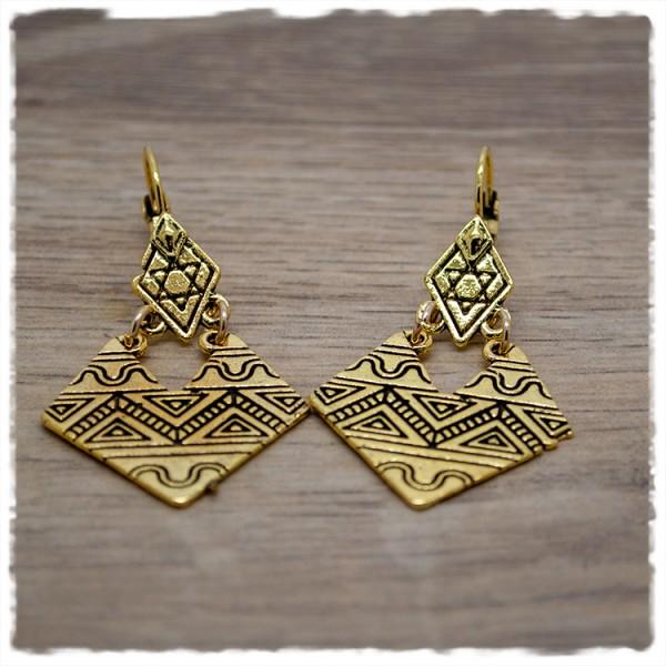 1 Paar Ohrhänger Raute in 30mm gold