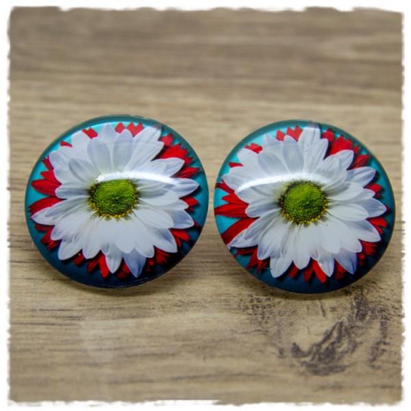 1 Paar Ohrstecker in 30 mm mit rot weißer Blüte
