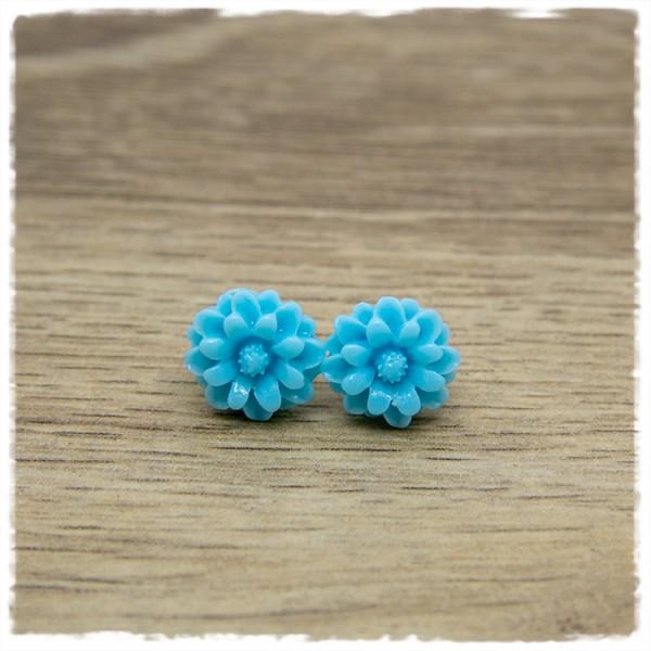 1 Paar Ohrstecker in 12 mm Blüte hellblau