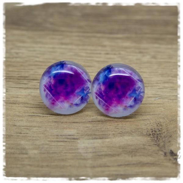 1 Paar Ohrstecker mit violettem Rauch