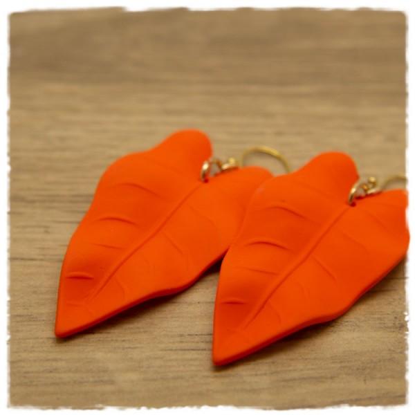 1 Paar Ohrhänger 50 mm matt orange in Blätterform