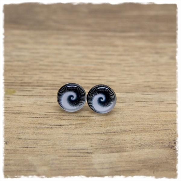 1 Paar Ohrstecker in 10 mm mit schwarzem Wirbel