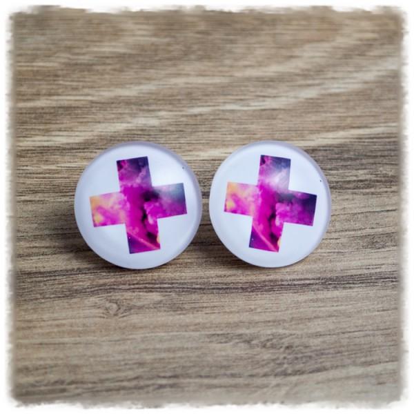 1 Paar Ohrstecker in 25 mm pinkes Kreuz auf weißem Hintergrund (wahlweise als Ohrclips)