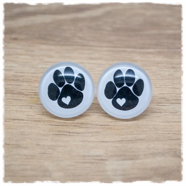 1 Paar Ohrstecker mit schwarzer Hundepfote auf weißem Hintergrund