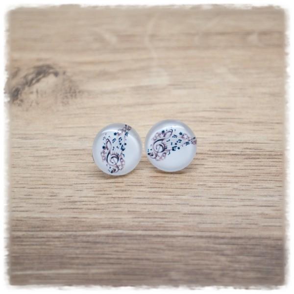 1 Paar Ohrstecker mit Notenschlüssel auf weißem Hintergrund (wahlweise als Ohrclips)