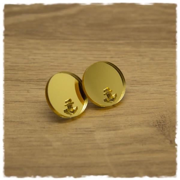 1 Paar flache Ohrstecker in 20 mm gold spiegelnd mit Ankerausschnitt