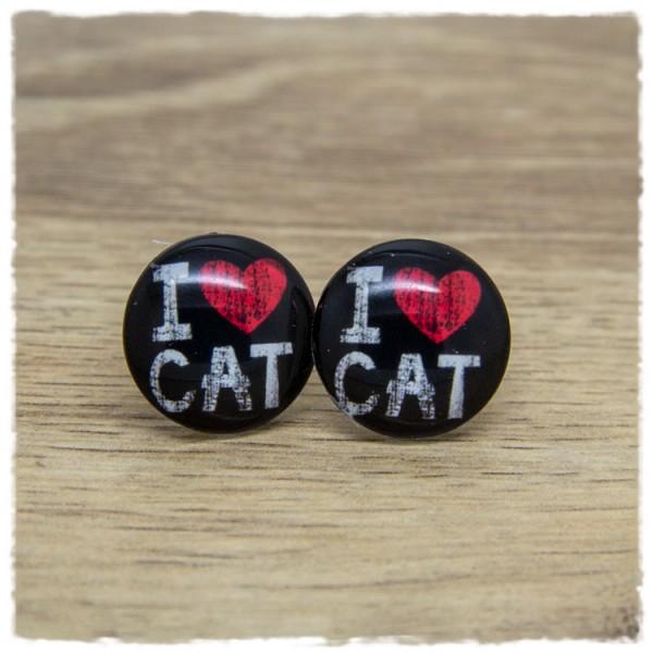 1 Paar Ohrstecker I LOVE CAT