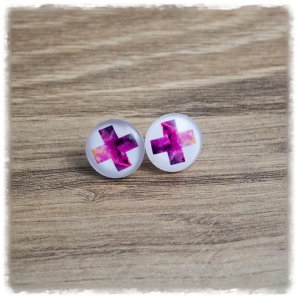 1 Paar Ohrstecker in 16 mm pinkes Kreuz auf weißem Hintergrund (wahlweise als Ohrclips)