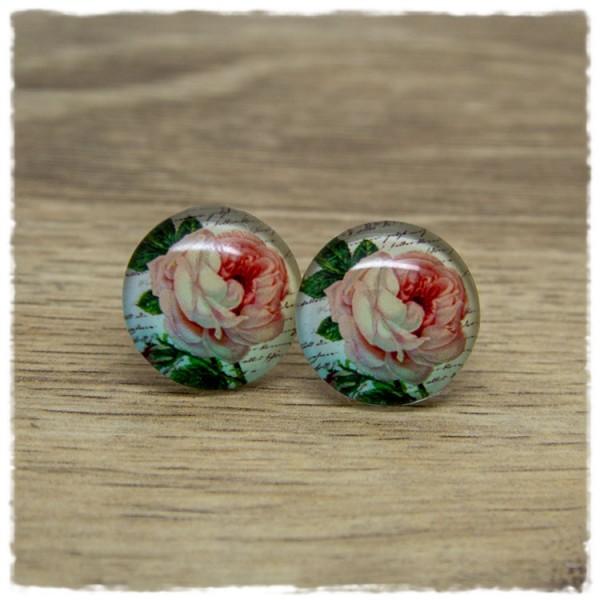 1 Paar Ohrstecker mit rosa Rose