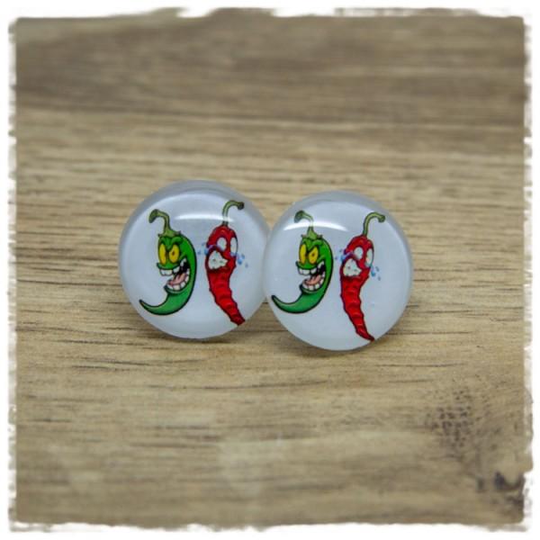 1 Paar Ohrstecker mit roter und grüner Chili