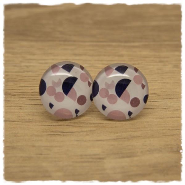 1 Paar Ohrstecker weiß mit runden Formen in rosa, zartlila und dunkelblau