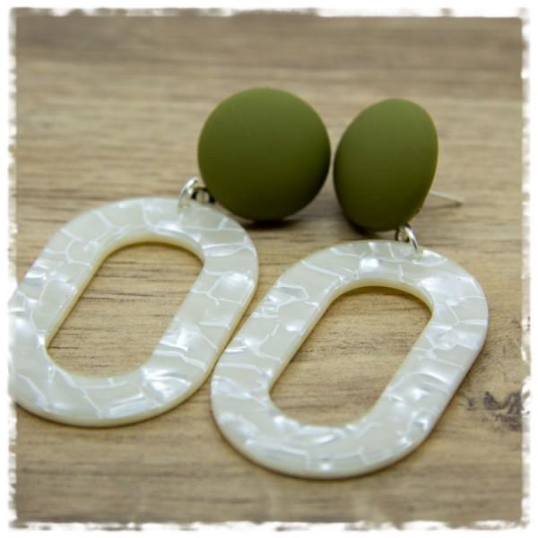 1 Paar Ohrhänger in 45 mm in weiß und matt grün