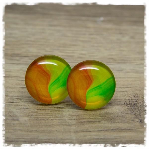 1 Paar Ohrstecker in 20 mm Aquarell gelb-grün-orange