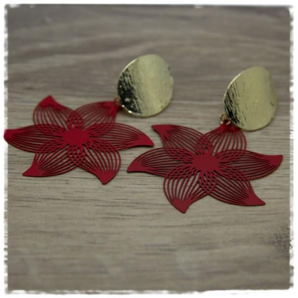 1 Paar Ohrhänger in 45 mm rote Blüte