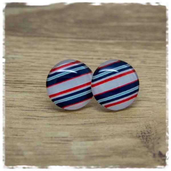 1 Paar Ohrstecker weiß mit blauen und roten Streifen