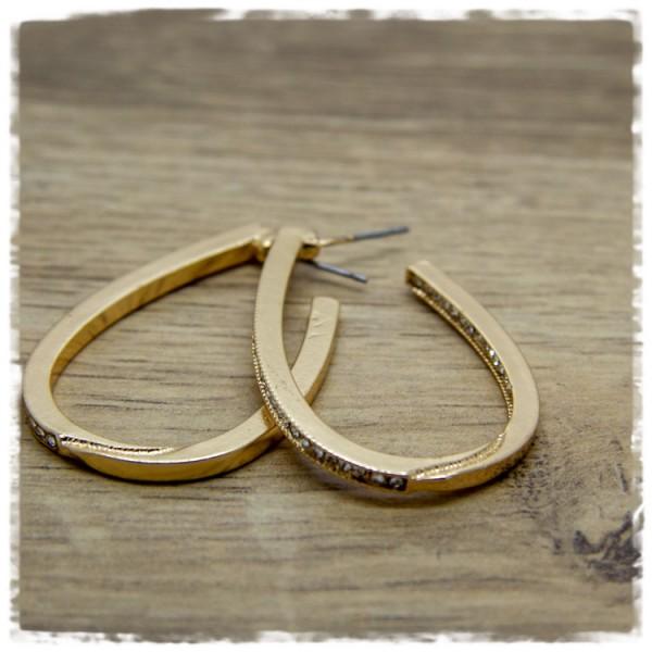 1 Paar Ohrhänger in 40 mm Tropfenform golden mit Glitzersteinen