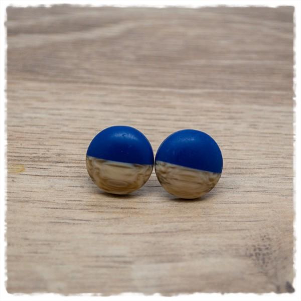 1 Paar Ohrstecker in 16 mm matt blau mit Holzdekor