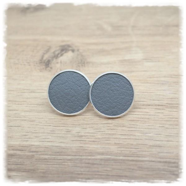 1 Paar Lederohrstecker grau mit silberner Fassung