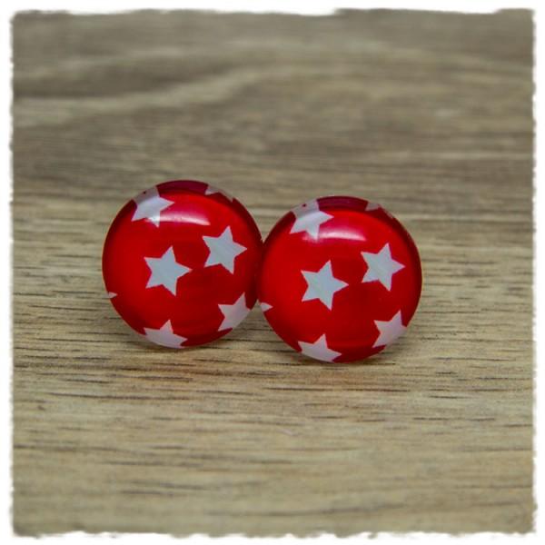 1 Paar Ohrstecker rot mit weißen Sternen