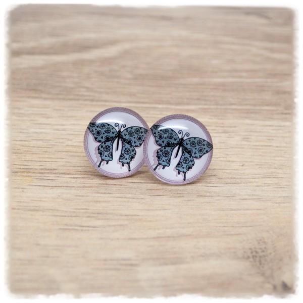 1 Paar Ohrstecker in 18 mm mit Schmetterling