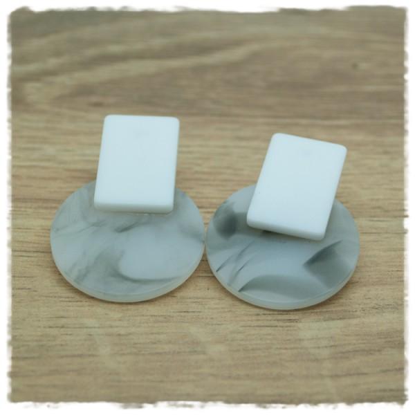 1 Paar Ohrstecker in 30 mm schwarz weiß marmoriert