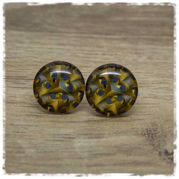 1 Paar Ohrstecker grau mit goldenem Muster