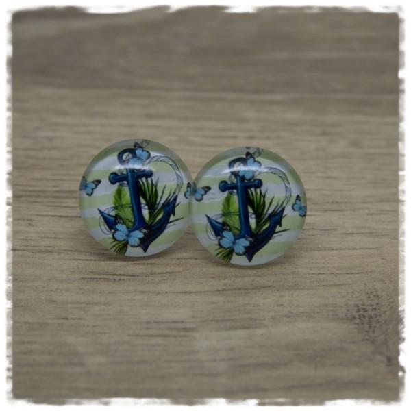 1 Paar Ohrstecker mit Anker auf grün weißen Streifen