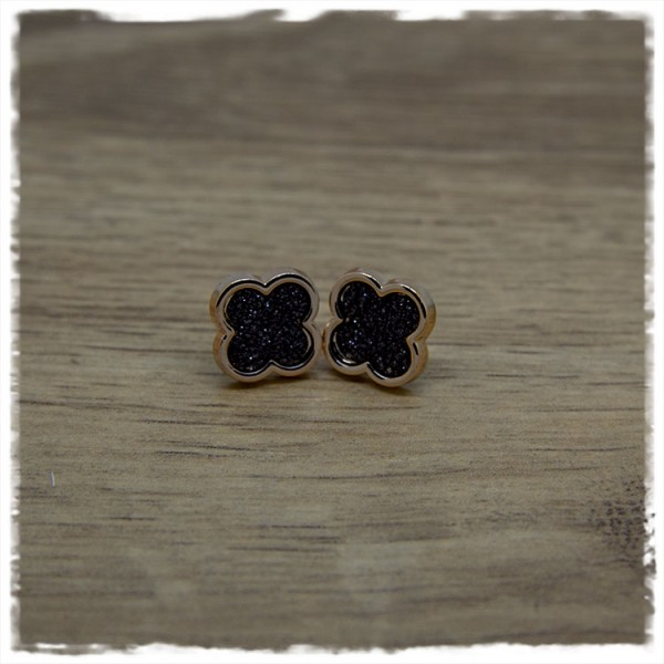 1 Paar Ohrstecker in 12 mm blätterförmig schwarz mit Rand in rosegold