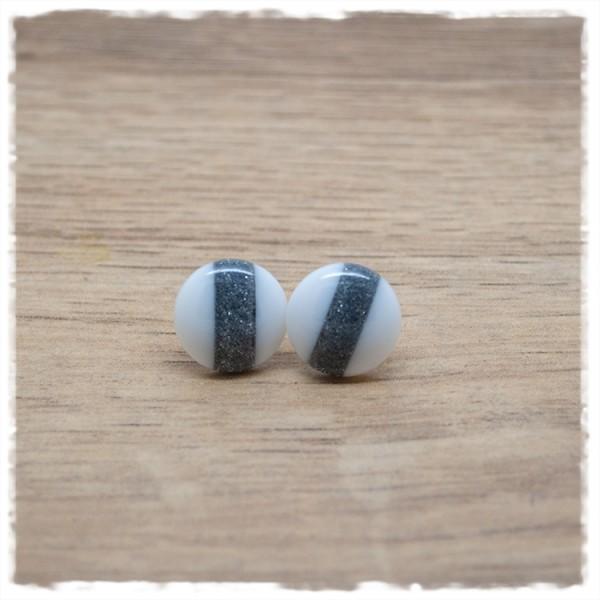 1 Paar Ohrstecker in 12 mm weiß mit grau