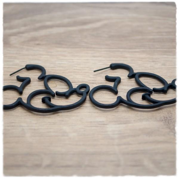 1 Paar Ohrstecker Mickey Mouse matt schwarz