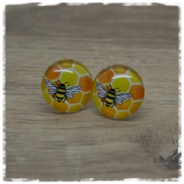 1 Paar Ohrstecker mit Waben und Biene