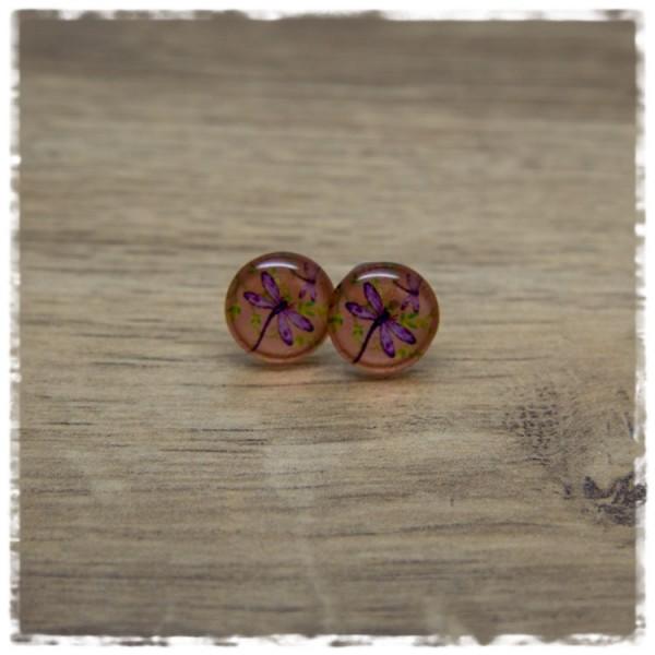 1 Paar Ohrstecker in 12 mm orange mit lila Libelle