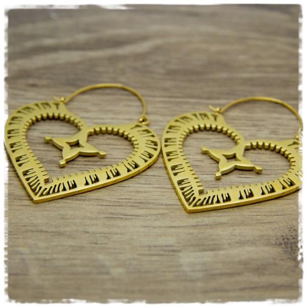1 Paar Ohrhänger in 45 mm herzförmig golden