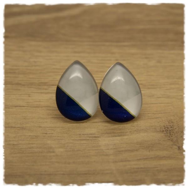 1 Paar große Ohrstecker in Tropfenform weiß und blau