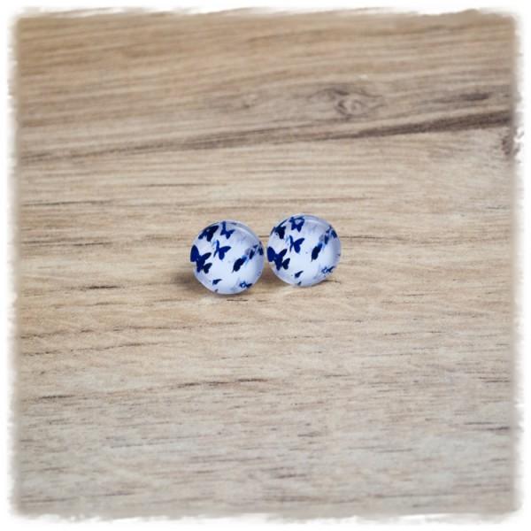1 Paar Ohrstecker in 12 mm mit Schmetterlingen auf weißem Hintergrund