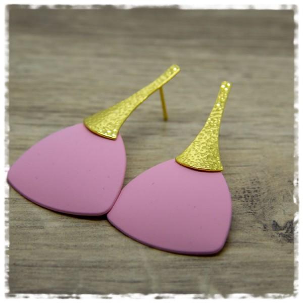 1 Paar Ohrhänger 30 mm in matt rosa und golden