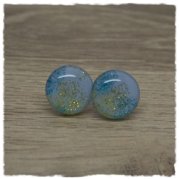 1 Paar Ohrstecker 18 mm hellblau mit gelbem und blauem Glitter
