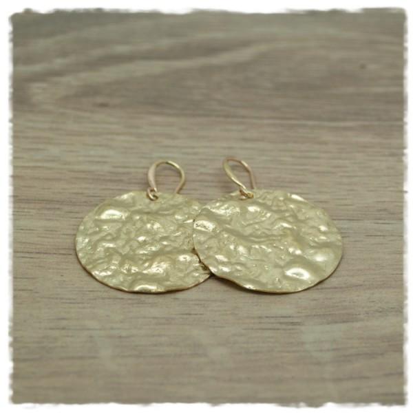 1 Paar Ohrhänger in 30mm gold gehämmert