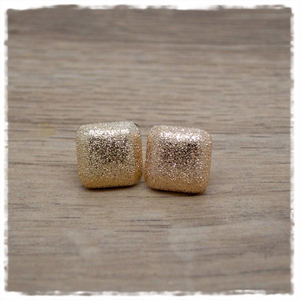 1 Paar Ohrstecker 14 mm quadratisch golden