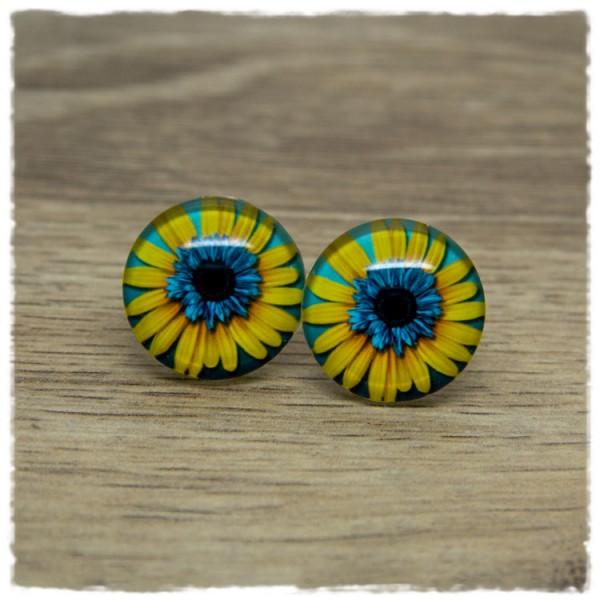 1 Paar Ohrstecker mit blau-gelber Blüte